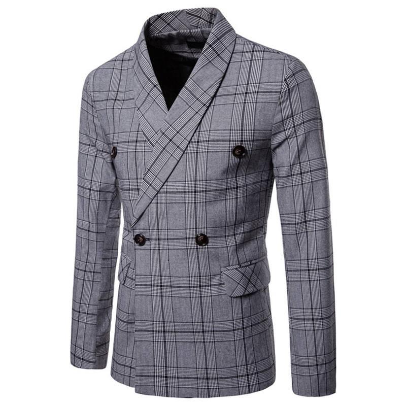 Men`s New Fashionable Checked Double-Breasted Suit Jacket Button Lattice Coat Casual Suit Jacket Men Slim Male Suit L15# (5)