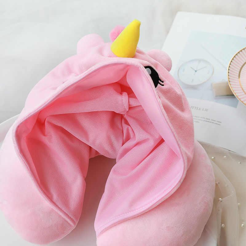 25 種類の漫画 U 形状パーカー旅行枕ネッククッション睡眠のためのかわいい動物のフード付き枕飛行機ホームテキスタイル
