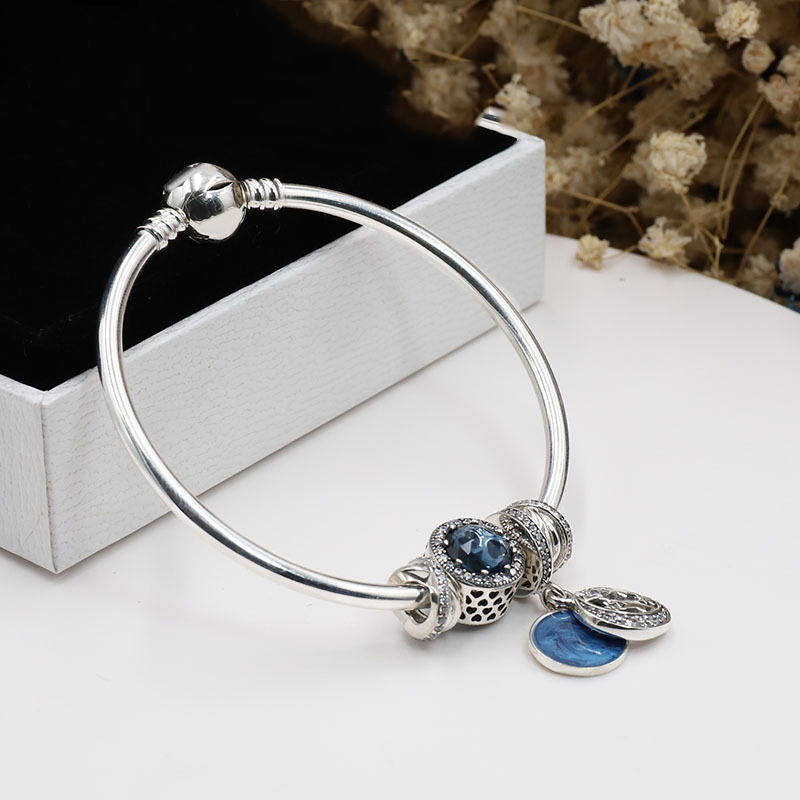New 925 Sterling Silver Original Starry Fairy Tales Pan Bracelet Set Clear CZ Fit Women Bangle Bead Charm DIY Jewelry top quality bright mint enamel clear cz radiant hearts of pan bangle fit europe bracelet 925 sterling silver bead charm jewelry