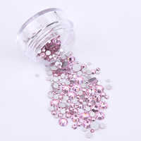 glitter assorted color pink glass rhinestone for nail art non hotfix decorations flatback rhinestones for nails 260~302pcs G92