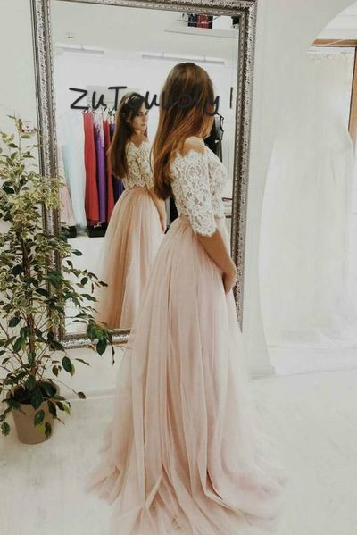 Pale Pink Two Piece Prom Dresses Top Lace Boho Evening Gowns Boat Neck Tulle Junior Graduation Dress 2019 Robe Dubai Soiree