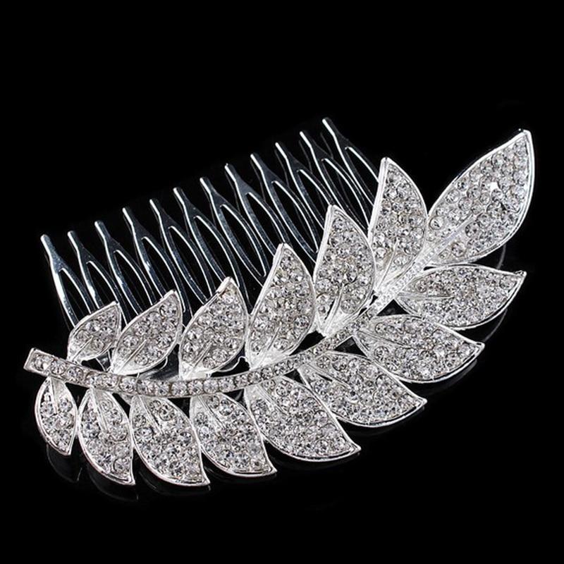 Silver Color Leaf Crystal...