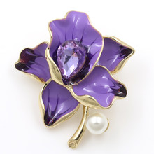 baiduqiandu Peony Flower Enamel Brooches Women Men's Metal Simulated Pearl Elegant Flower Party Banquet Weddings Brooch Gifts(China)
