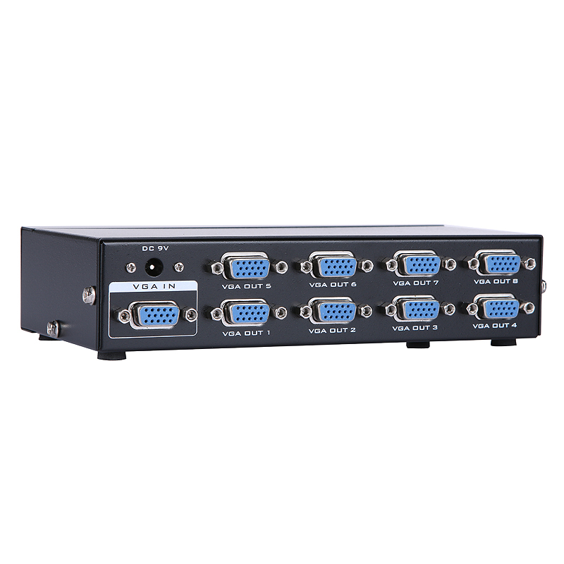 8 Port <font><b>VGA</b></font> Video Splitter - 1 in to 8 Out - 1 Pc to 8 Monitors <font><b>vga</b></font> amplifier splitter <font><b>vga</b></font> rca splitter Free Shipping image