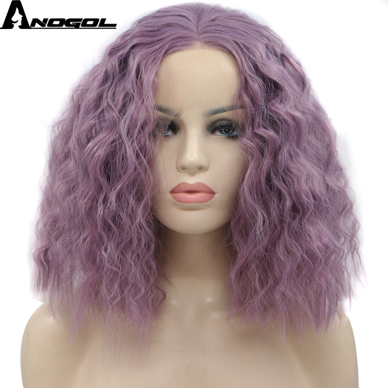Anogol Purple High Temperature Fiber Perruque Peruca Short Water Wave Bob Hair Wigs Synthetic Lace Front