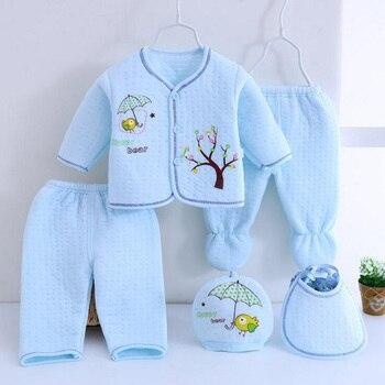 Bekamille 5pcs/set Autumn Winter Newborn sets Baby warm Cotton Girls Boys cartoon suits  infant kids clothing Good quality Baby Clothing