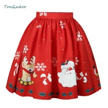 Tonlinker Christmas Printing Cosplay Pleated Skirts Women Knee-Length Flared Pleated Skirts Fashion Causal Tutu Skirt