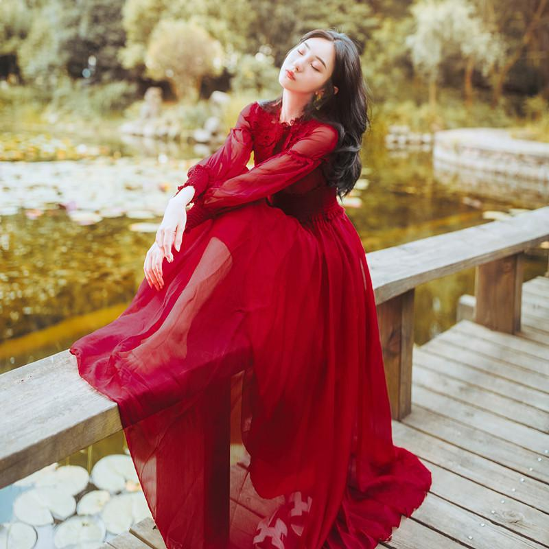 En Rétro Nouveau Filles Rouge Mousseline Bohème Femme Lanterne Femmes Parti Vêtements Soie Robes De Automne Longue Manches Robe Vintage Dentelle Fée r0ZSEW0