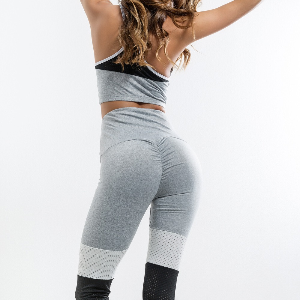 Breathable Crop Top And Patchwork Leggings 2 Piece Set Women Tracksuits Fitness Pants Set Workout Sportwear Girl Suit Set ...