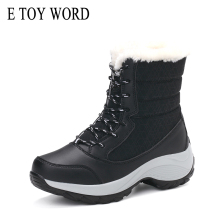 E TOY WORD Snow Boots Waterproof Winter Shoes Women Platform Keep Warm Ankle Winter Boots Thick Fur Heels botas mujer Size 35-42