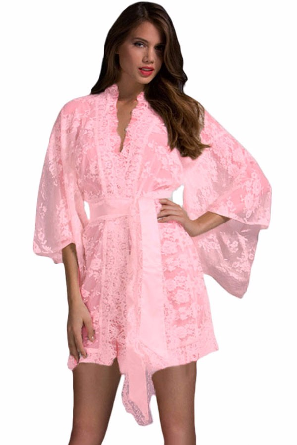 Pink-Belted-Lace-Kimono-Nightwear-LC21998-3-1