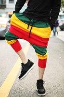 Большие промежности Штаны метросексуал цвет полосы корейский хип-хоп крест Штаны Мужские штаны для отдыха Харен нейтральный семь Штаны