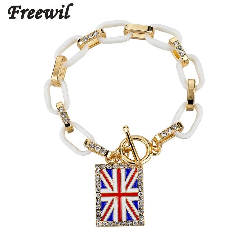 Low Square Uk Flag Charm Bracelets For Women Gold Plastic Link Chain Crystal