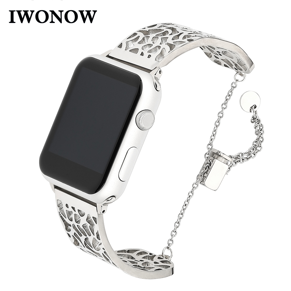 Jewelry Watchband for iWatch Apple Watch 38mm 40mm 42mm 44mm Series 1 2 3 4 Stainless Steel Band Woman Lady Strap Wrist Bracelet elegant water resistant stainless steel bracelet style lady s wrist watch 1 x lr626