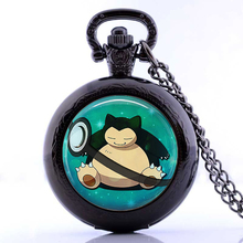 2016 New DIY Anime Jewelry, Snorlax Pokemon Pokeball Pocket Watch Necklace, Anime Geekery Gaming Handcraft Pendant