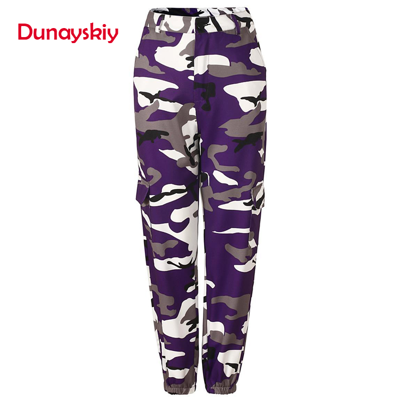Dunayskiy 7 Colors New Women Long Cargo Pants   Jeans   Loose High Waist Military Army Combat Camouflage   Jeans   Trousers For Female
