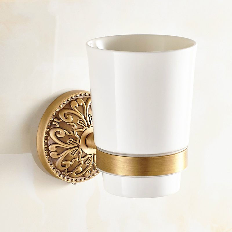European Bronze Brass Toothbrush Holder Ceramic Cup Carved Base Tumbler Cup Holder Wall Mount Bathroom Products tp8 allen roth brinkley handsome oil rubbed bronze metal toothbrush holder