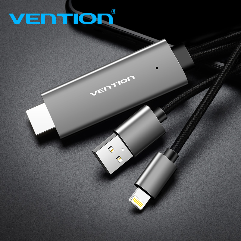 Vention HDMI Cable 2M USB to HDMI Converter Cable for iPhone 8 Pin to HDMI Digital AV Cable for iPhone 7 6S Support HDTV