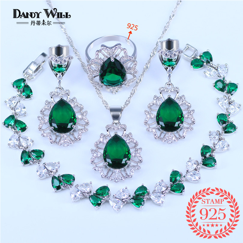 Russian Style Wonderful Green Zircon White Crystal 925 Silver Women Wedding Bracelets Jewelry Set Ring Size 6/7/8/9/10