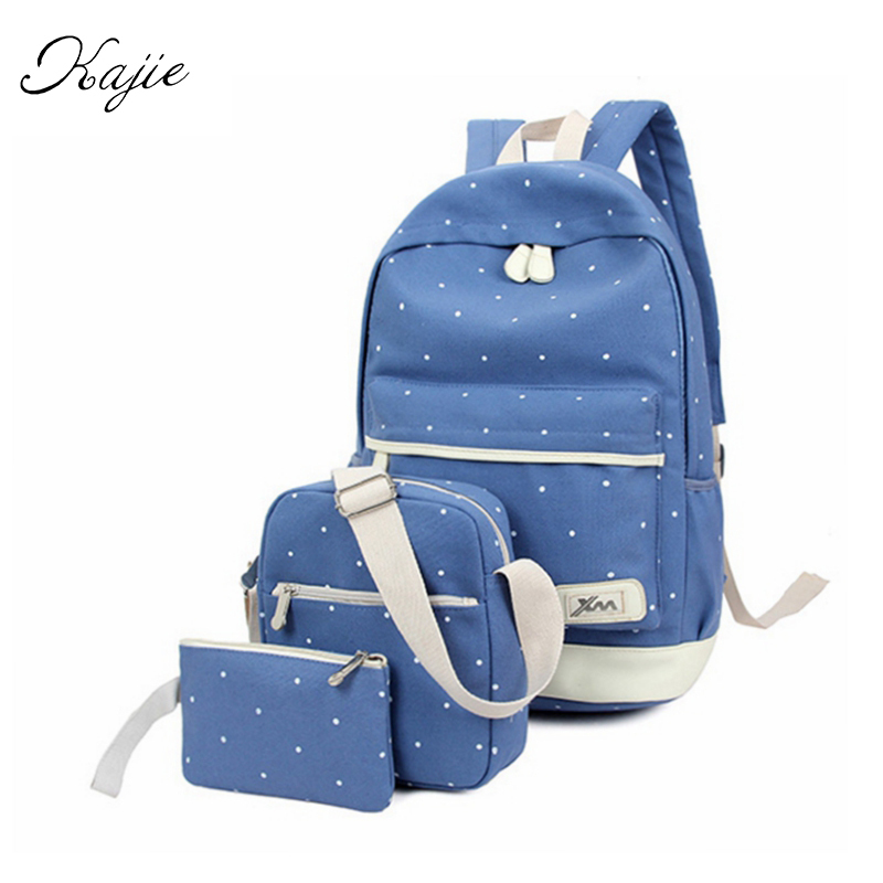 Kajie New 3pcs set 2017 Canvas Fashion Backpack For Teenage Grils Casual Women Backpack Preppy Dot