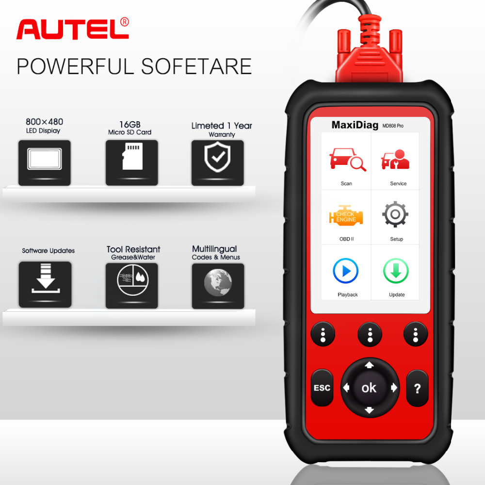 цена Autel MD808 pro All System OBDII Diagnostic Tool OBD2 Scanner Combination of MaxiCheck Pro and MD802 for Engine,Transmission