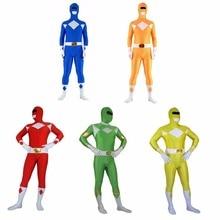 Super Sentai Series Cosplay Costumes Red/Green/Blue/Orange/Yellow/Pink Cosplay Halloween Suit Zentai cosplay red