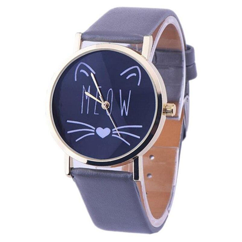 Cute Cat Pattern Ladies Women Watch Leather Band Analog Quartz Wrist Watch Clock Vogue Sport Watches Women 2018