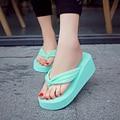 Summer Bownot Shoes Women Sandals Sapato Feminino Beach Wedge Flip Flops Fabric Platform Sandals Thongs Sandalias Mujer