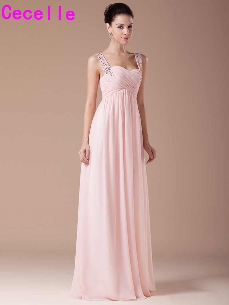 Compare prices on long blush chiffon bridesmaid dresses online blushing chiffon long bridesmaid dresses with straps beaded crystals formal wedding party dress pink bridesmaid robes ombrellifo Choice Image