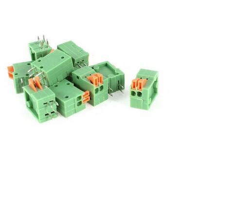 10 Pcs 2.54mm 2 Pin PCB Mount Spring Terminal Blocks Connectors 150V 2A AWG26-20 3 pin 5 0mm terminal blocks connectors blue 20 piece