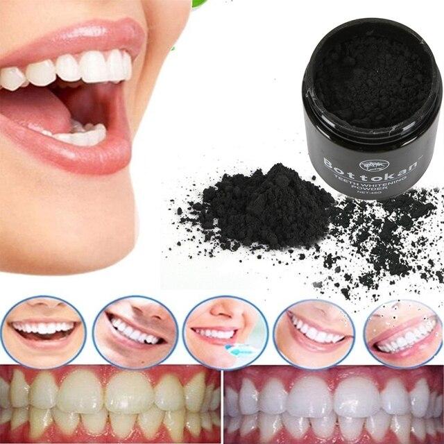 Polvo blanqueador de dientes negro activado café té manchas diente humo eliminación Cuidado Oral odontología latas de hierro