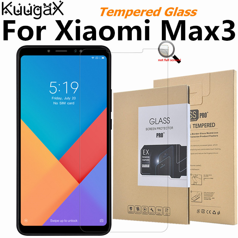 Tempered Glass For Original <font><b>Xiaomi</b></font> Mi Max 3 6GB RAM <font><b>128GB</b></font> ROM max3 smart phone Screen Protector Film on 9H Toughened display image