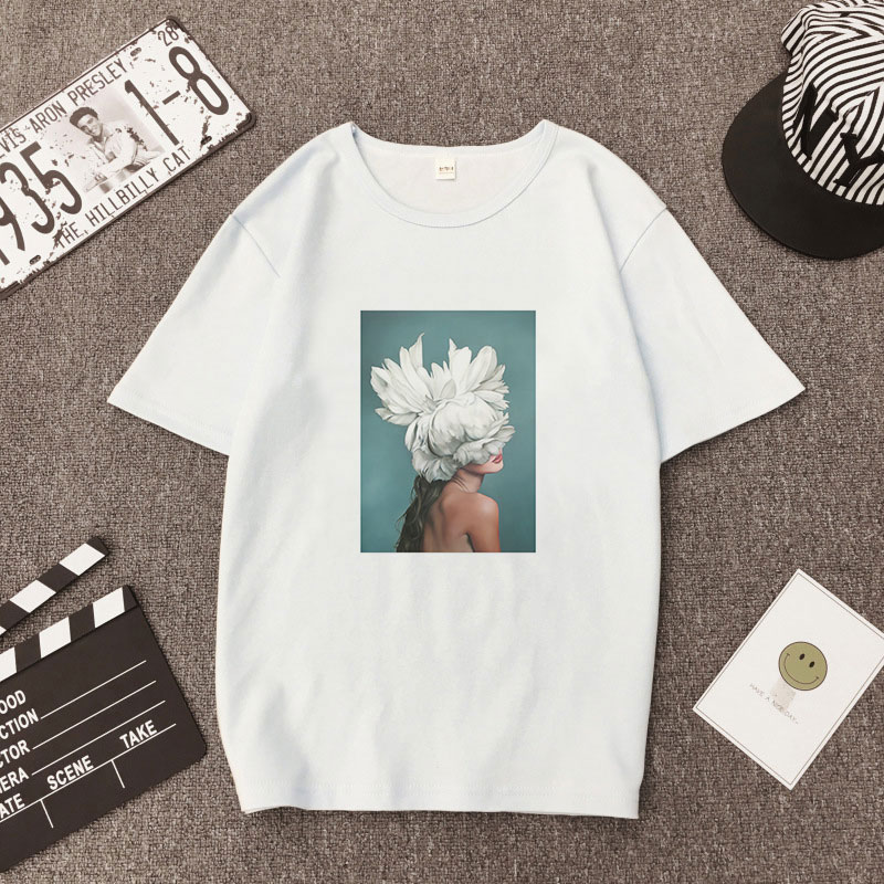 Hot Fashion Women Aesthetics Sexy Flowers Feather Printed Tee Short Sleeve O-neck Harajuku Summer T-shirt Top Clothes Streetwear