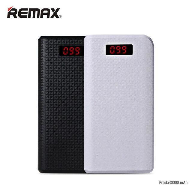 Remax Proda Power Bank 30000 мАч Poverbank Портативный 18650 Портативный Аккумулятор Мобильное Зарядное Устройство LCD Внешняя Батарея Powerbank 20000 мАч