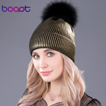 [boapt] bronzing gold and silver with caps raccoon fur pompon hat for women winter knitting warm hats female skullies beanies