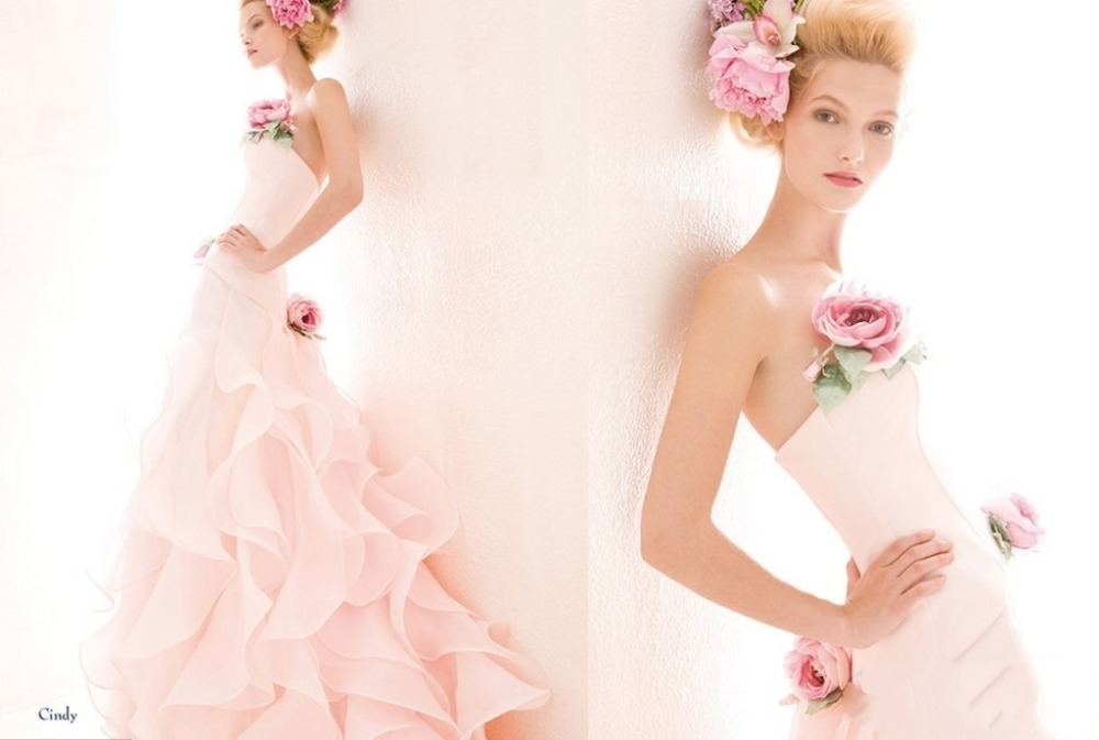 Glamorous Pleated Ruffles Organza Wedding Gown Soft Sweetheart With Handmade Flowers Pink Dresses Bridal Gowns In From