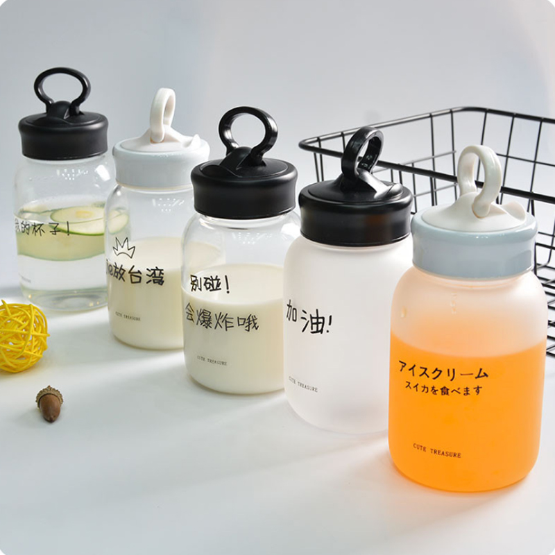 Бутылки для воды Многофункциональный мобильный телефон кронштейн тянуть кольцо 580 мл чайник жира Pier Стекло крышка большой ручки Drinkware моя б...