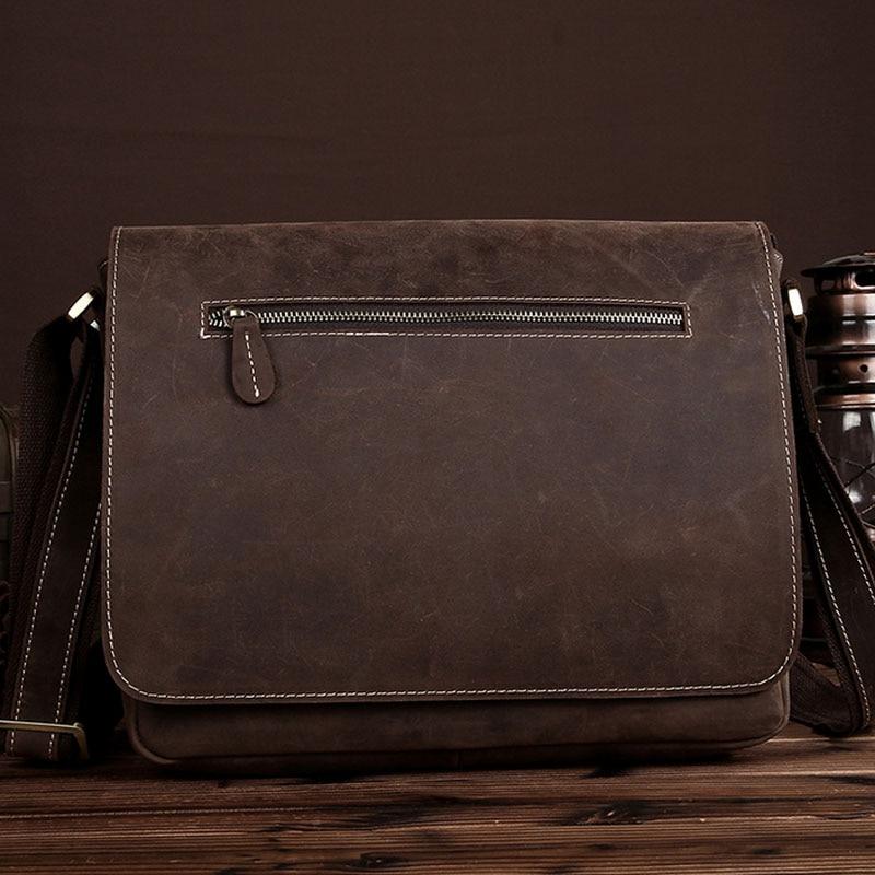 купить High Quality Men Bag Crazy Horse Cowhide Cross Body Bag Men Messenger Shoulder Bag Vintage casual Business Leather Bag по цене 4268.88 рублей