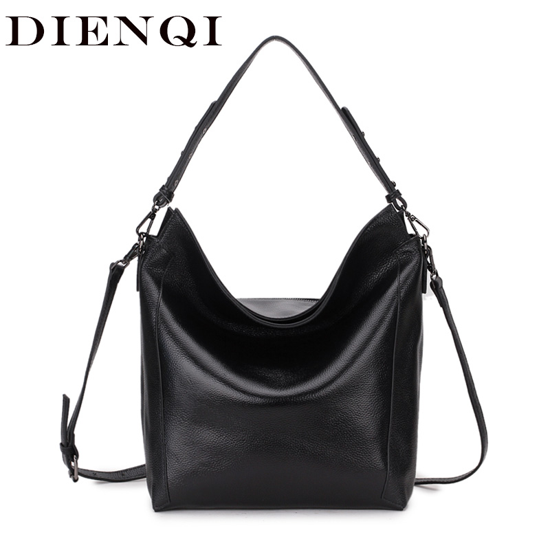 DIENQI Bag Ladies Genuine Leather Shoulder Bag Hobo Women s Genuine Leather Handbags Big Female Tote