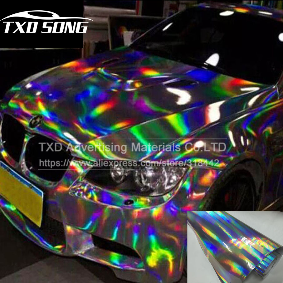 Premium Silver Laser car wrap film holographic Rainbow Sticker Car styling film black silver chrome vinyl sample Free ship 300mmx1520mm chrome silver vinyl car sticker electroplated silver film diy wrap sheet film decal car styling