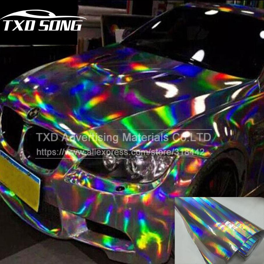 Premium silver laser car wrap film holographic rainbow sticker car styling film black silver chrome vinyl sample free ship