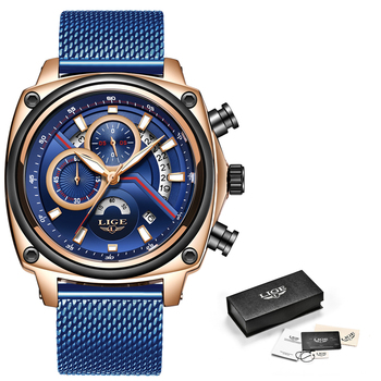 LIGE Luxury Casual Blue Clock Military Waterproof Chronograph Men Quartz Watches  5