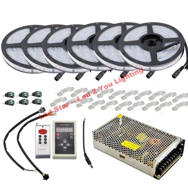DC12V 5 m 10 m 20 M 30 m 150 LED IP67 étanche 6803 IC SMD 5050 RGB rêve magique bande LED couleur + 133 programme RF contrôleur - 5