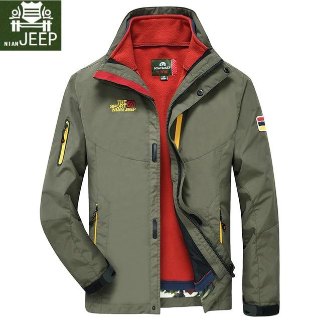 1b2775a0de7 2 IN 1 Fit Jacket High Quality NIAN JEEP Brand Waterproof Windbreaker  Jacket Coat Winter Jacket