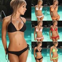 Sexy Women Push-up Padded Bra Bandage Solid Bikini Set Swimsuit Triangle Swimwear Bather Suit Swimming Suit