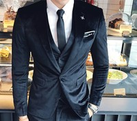 Velvet tuxedo jacket + vest + pants 2018 new latest coat pants designs tero slim fit elegant wedding men suits men velvet suit