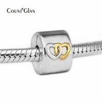 Fits Bracelet Charms DIY Beads for Jewelry Making Interlocking Heart Clip Beads Genuine 925 Sterling Silver Charms Not Plated