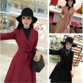 2016 New Trench Coatlt Women Accept Coats Khaki Black Wine Red 7454