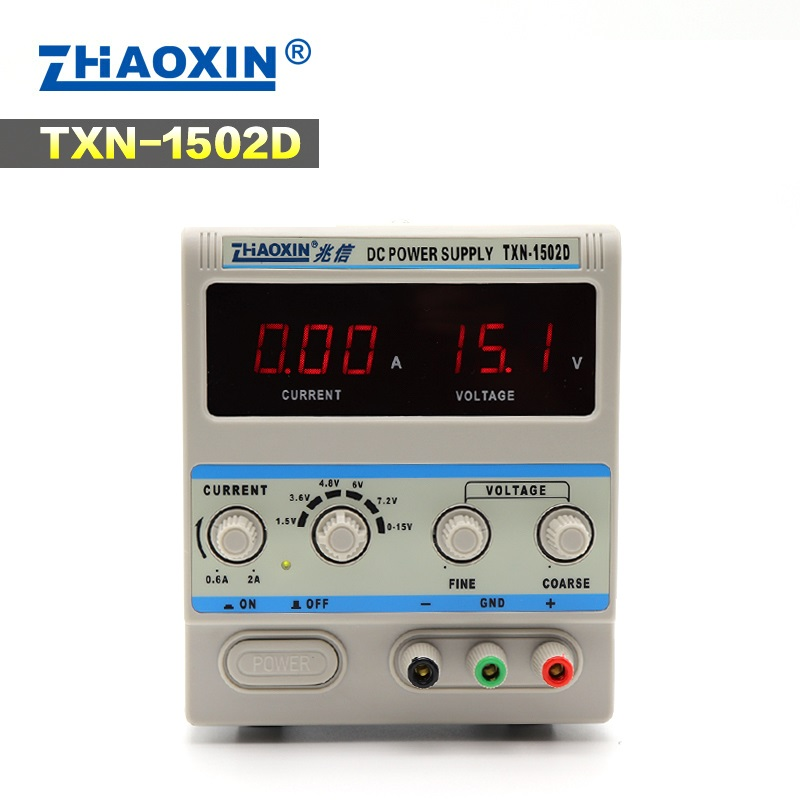TXN-<font><b>1502D</b></font> Adjustable DC Power Supply 0-15V 0-2A Power Cable Digital for Mobile Phone Repair Power image