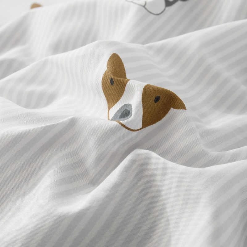 YAXINLAN постельное белье комплект хлопок Двусторонний мультфильм Лаконичныйпростынь пододеяльник наволочка 4-7 части